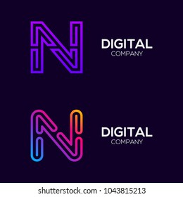Letter N Colorful logotype with Three Line, Square and Circle shape Maze Labyrinth, Technology and Digital Connection Link concept for your Corporate identity