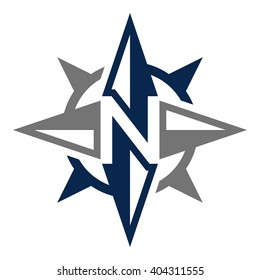letter N and compass logo vector.