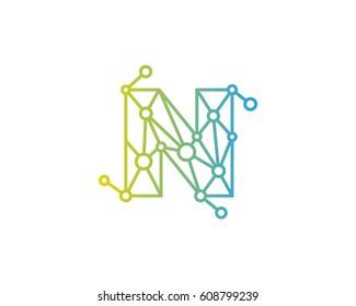 Letter N Connected Circle Network Logo Design Element