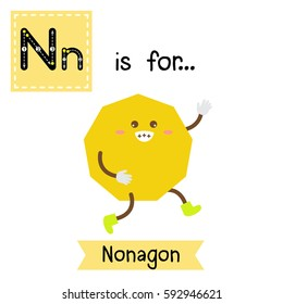Letter N cute children colorful geometric shapes alphabet tracing flashcard of Nonagon for kids learning English vocabulary.