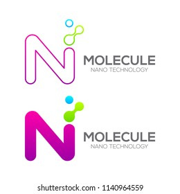 Letter N with Dot and Curve ,Circles shape connected, Molecule and Nano Technology logotype, innovation tech, Medicine, Science, Laboratory, Cosmetics