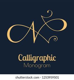 Letter N - elegant copperplate monogram design