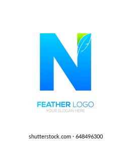Letter N with Feather logo, Lawyer logotype for your Corporate identity