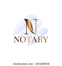 Letter N with feather notary watrecolor logo on white background