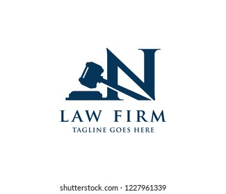 Letter N With Gavel For Law And Attorney Firm Logo Vector Design Template
