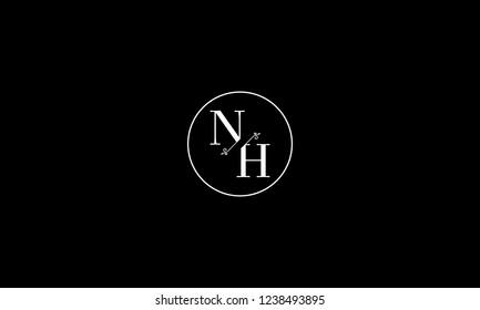 LETTER N AND H FLOWER LOGO WITH CIRCLE FRAME FOR LOGO DESIGN OR ILLUSTRATION USE