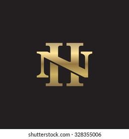 letter N and H monogram golden logo