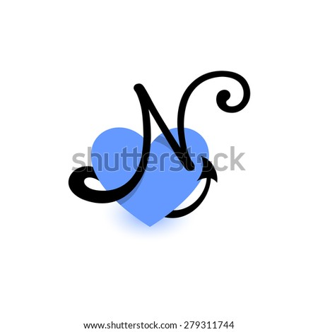 Letter N Heart Beautiful Vector Love Stock Vector Royalty Free