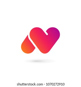 Letter N heart logo icon design template elements