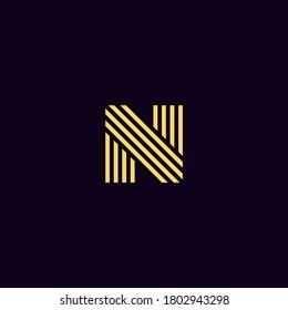 letter n initial logo luxury gold vector eps