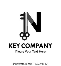 letter n with key logo template illustration. you can change the color. suitable for key company