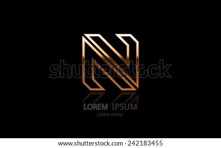 letter n logo alphabet logotype vector design