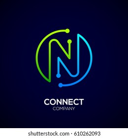 Letter N logo, Circle shape symbol, green and blue color, Technology and digital abstract dot connection