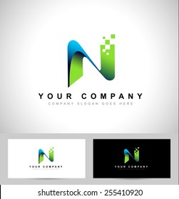 Letter N Logo Design. Creative letter n vector icon with business card template.