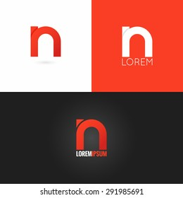 letter N logo design icon set background
