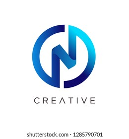 Letter N Logo Design, Modern N Logo, Letter N with Circle