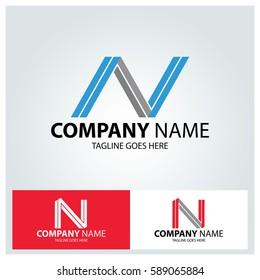 Letter N logo design template. Line creative symbol. Vector illustration