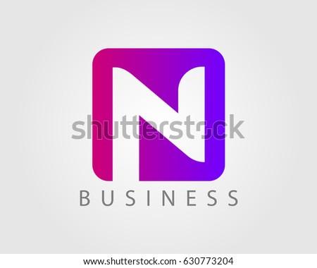Letter n logo design template square stock vector royalty free letter n logo design template with square maxwellsz