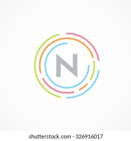 Letter N logo design template,Business,Colorful creative sign,vector icon,lines letters,Typographic elements,modern,company name brand.round,rings,circle