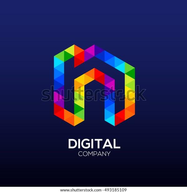 Letter n Logo Design.Hexagon logo,Polygon logo,Digital,Media