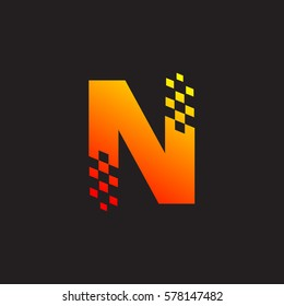 Letter N logo, fast speed, moving, delivery, Digital and Technology for your Corporate identity