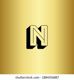 Letter N logo with a golden background. Monogram letter N 3d with shadows and gold background