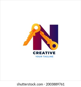 letter N logo with key for business, template, brand name and company logo