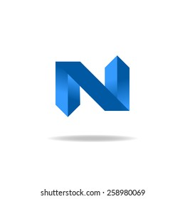 Letter N logo mockup, blue isometric geometric facet shape mark design element, 3D technology icon