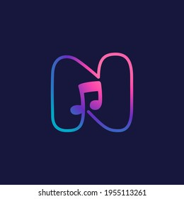 Letter N logo with musical note. Vector line icon for Audio company, Sound media magazine, Singer and DJ poster.