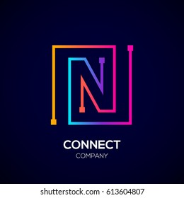 Letter N logo, Square shape, Colorful, Technology and digital abstract dot connection