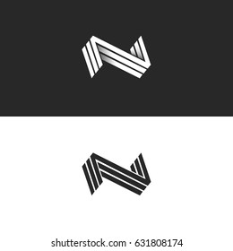 Letter N logo three NNN mark, isometric lines geometric shape, black and white hipster emblem, identity 3D typography design element mockup. Perspective minimal style form with shadow