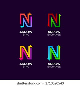 Letter N logotype with Arrows two directions concept, Financial Investment and Exchange logo, Reload Refresh Sync Symbol for your Business Company and Corporate identity Vector illustration