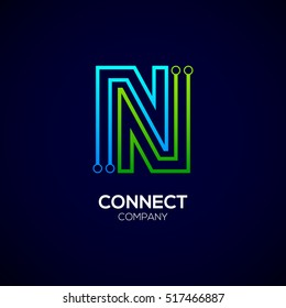 Letter N logotype green and blue color,Technology and digital abstract dot connection vector logo