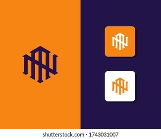 Letter N M logo design. creative minimal monochrome monogram symbol. Universal elegant vector emblem. Premium business logotype. Graphic alphabet symbol for corporate identity