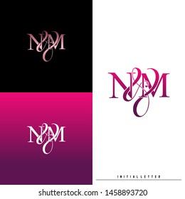 Letter N M NM logo initial vector. Initial luxury logo.