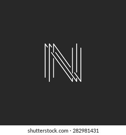 Letter N monogram logo, black and white mockup business card thin line sign
