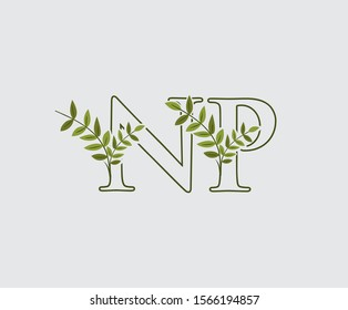 Letter N, P and NP Nature Leaf Logo Icon.