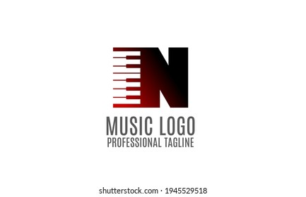 letter N piano or keyboard for professional music school logo, composer, producer, publisher, event organizer