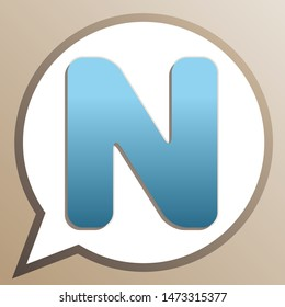 Letter N sign design template element. Bright cerulean icon in white speech balloon at pale taupe background. Illustration.