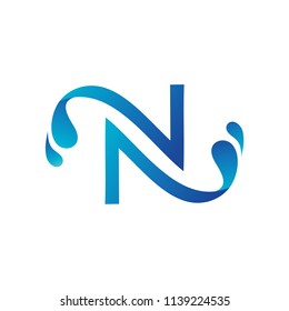 Letter N With Splash Water Logo Template