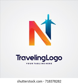 Letter N Travel Logo Template Design Vector, Emblem, Design Concept, Creative Symbol, Icon