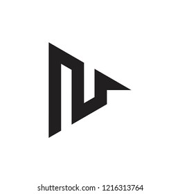 letter n triangle arrow geometric logo vector