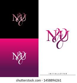 Letter N U NU logo initial vector. Initial luxury logo.