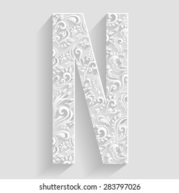 Letter N. Vector Floral Invitation cards Decorative Font