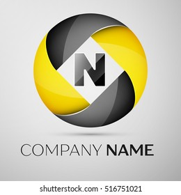 Letter N vector logo symbol in the colorful circle. Vector template for your design