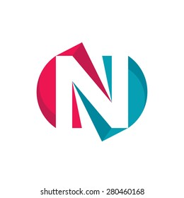 Letter N - vector logo template concept illustration. Abstract sign. Design element.