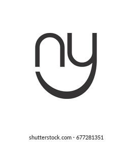 letter n and y with smile logo