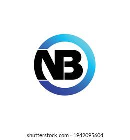 Letter NB circle logo design vector