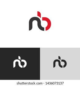 Letter nb linked lowercase logo design template elements. Red letter Isolated on black white grey background. Suitable for business, consulting group company.