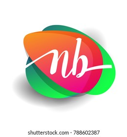 Letter NB logo with colorful splash background, letter combination logo design for creative industry, web, business and company.